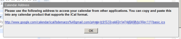 GMail Calendar private address window