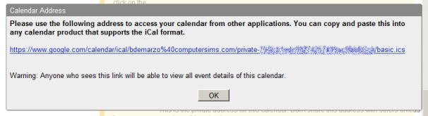 GMail Hosted Calendar private address window