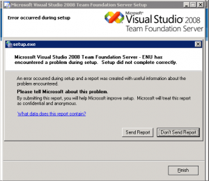 Team Foundation Server encountered a problem during setup