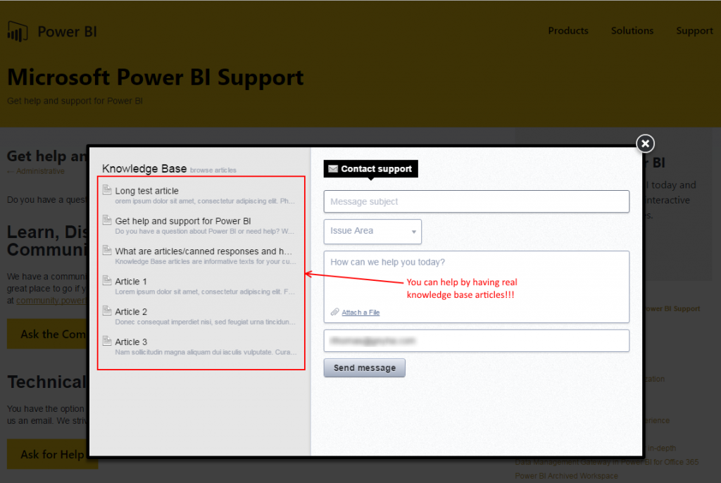 Microsoft PowerBI Knowledge Base fail